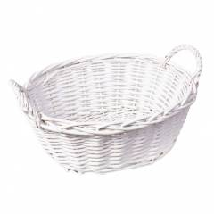 Woodluv Lined Wicker Oval Storage Gift Hamper Basket With Handles, White