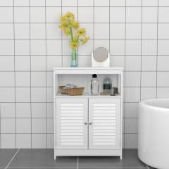 Freestanding MDF Louvered Doors Floor Cabinet Unit - White