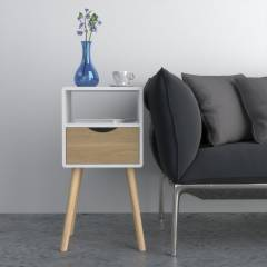 Woodluv MDF Modern Drawer Bedside Side Table, Wood White