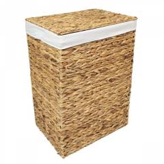 Woodluv Natural Water Haycinth Laundry Storage Basket With Lining, Medium