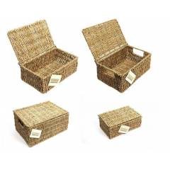 Woodluv Set Of 2 Natural Seagrass Storage Basket With Lid, Medium & Small