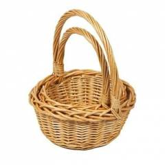 Woodluv Set Of 2 Round Wicker Baskets With Long Carry Handles, Natural