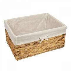 Woodluv Water Haycinth Shelf Storage Basket With Lining, Large