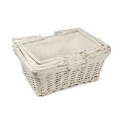 Woodluv White Rect Wicker Hamper Storage Gift Basket With Handle,Large