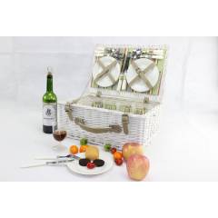 Woodluv White Wicker Antique Picnic Hamper Basket for 4 Persons With Handle