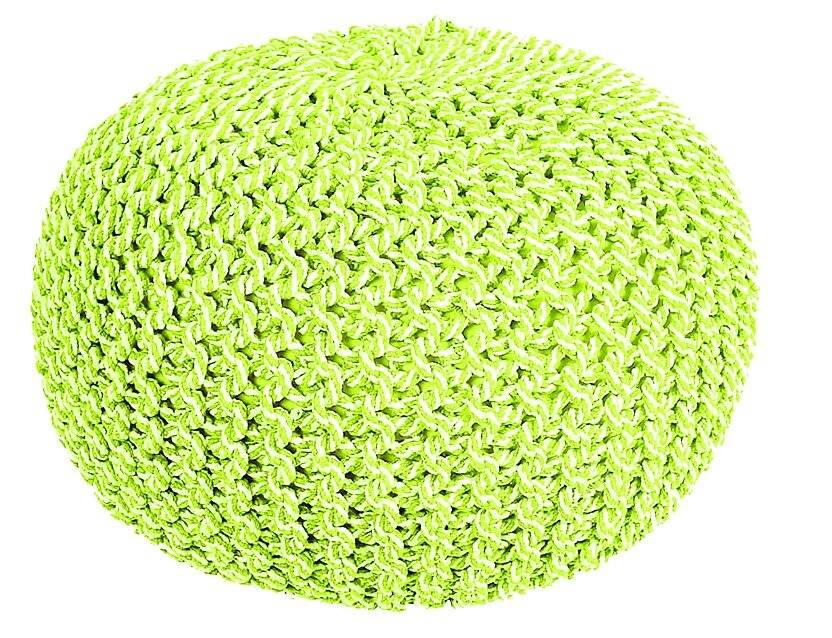 Cotton Two-Tone Round Handmade Double Knitted Pouffe - Green/Cream