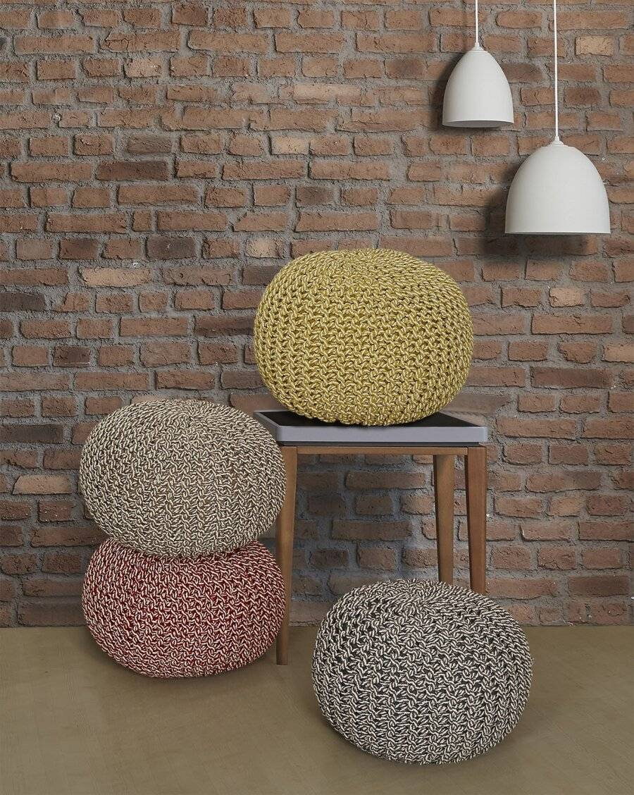 EHC Cotton Round Handmade Double Knitted Braided Pouffe - Red /Cream