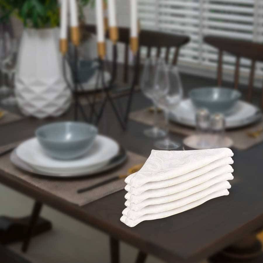 EHC Luxury Scroll Pack of 6 Table Napkins, Serviettes - White