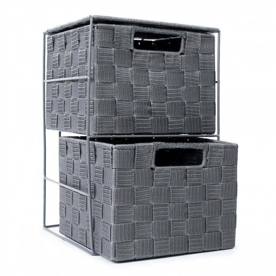 2 Drawer Polypropylene Woven Storage Cabinet Unit, Grey