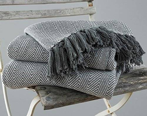 2 Tone King Size Herringbone CottonBedspread For 225 Cm x 220 Cm -Grey
