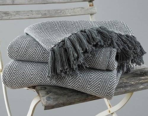 2 Tone Super King Herringbone Cotton Bedspread, 225 cm x 380 cm - Grey