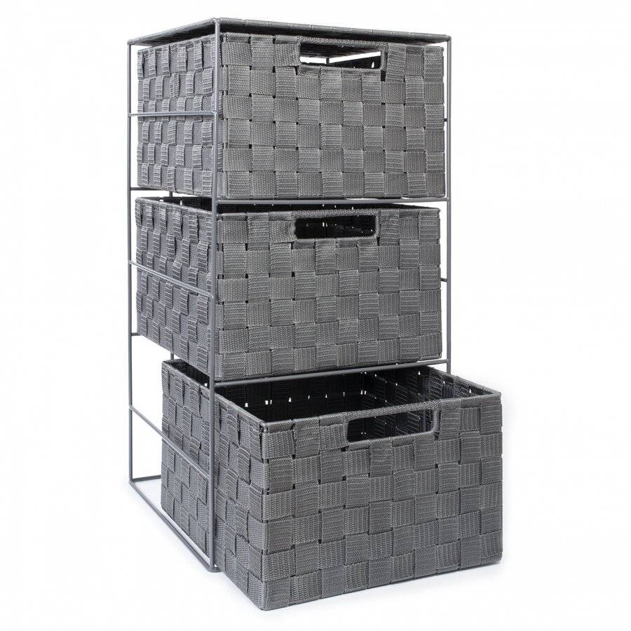 3 Drawer Large Polypropylene Woven Storage Cabinet Unit, Grey