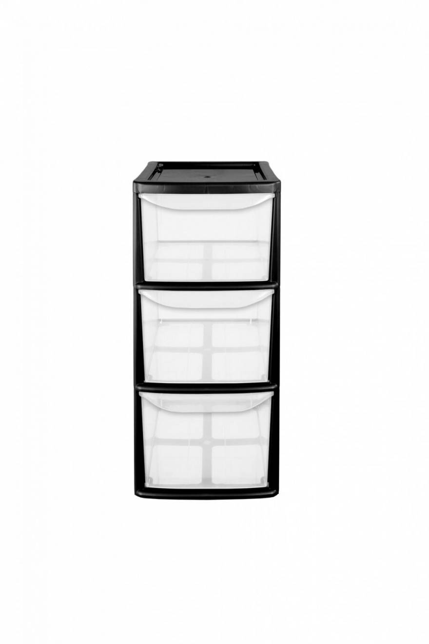 3 Drawer Medium Tower Plastic Storage Unit With Black Frame