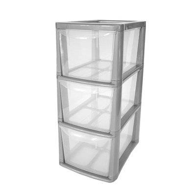 3 Drawer Medium Tower Plastic Storage Unit With Silver Frame