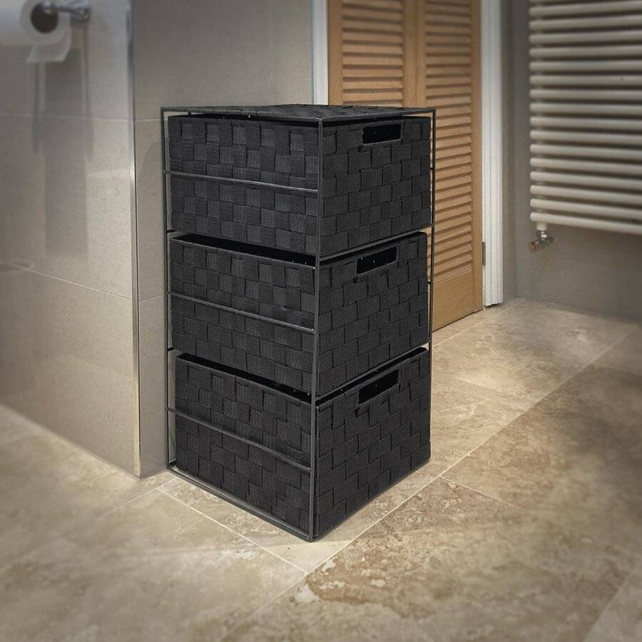 EHC 3 Drawer Storage Cabinet For Bedroom, Bathroom - Black