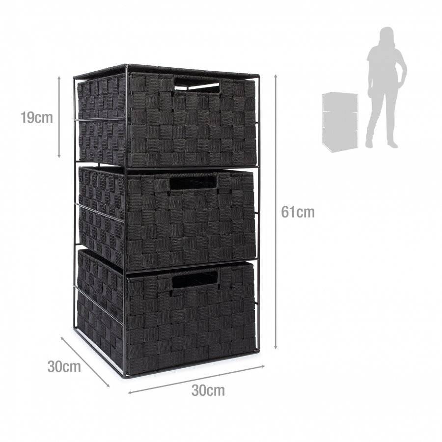 EHC 3 Drawer Storage Cabinet For Bedroom, Bathroom - Black