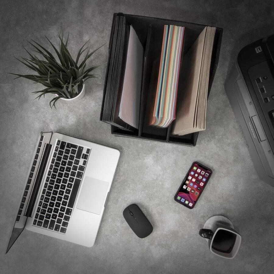 3 Section Faux Leather Magazine Storage Organizer Box - Black