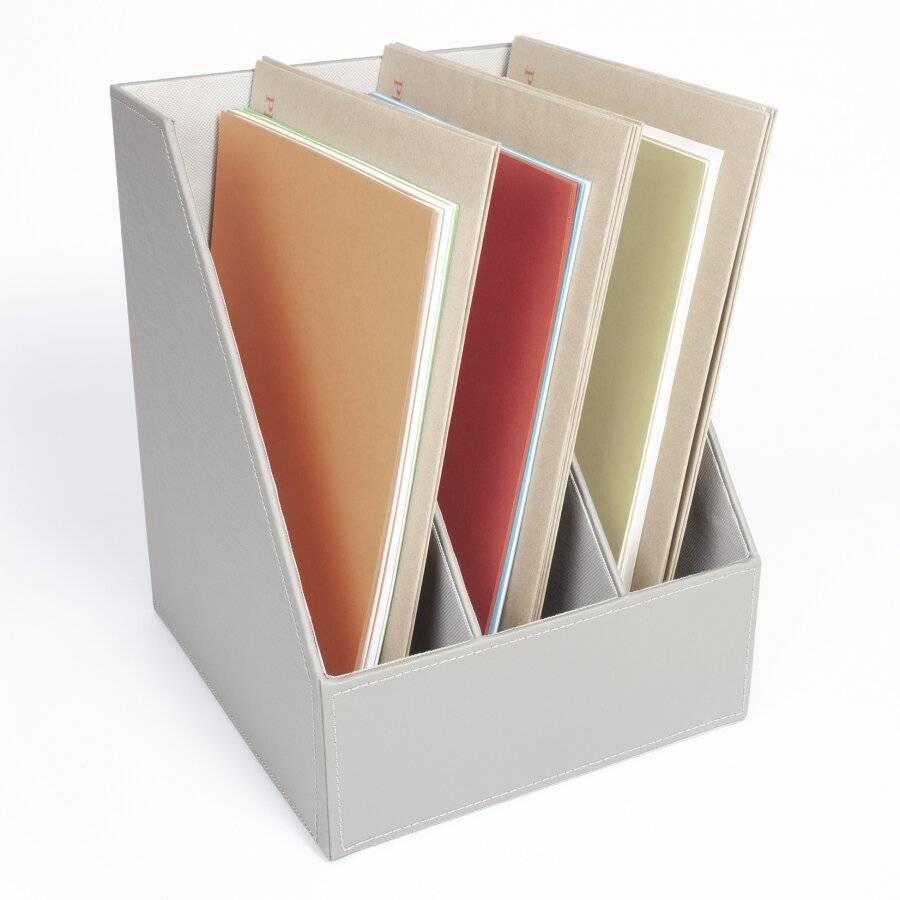 3 Section Faux Leather Magazine Storage Organizer Box - Grey