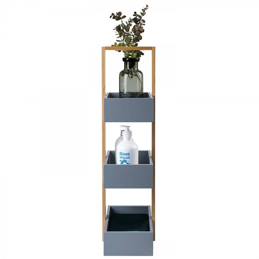 3 Tier Bamboo & MDF Storage Unit For Bathroom, Grey - 25 x 18.5 x 70cm