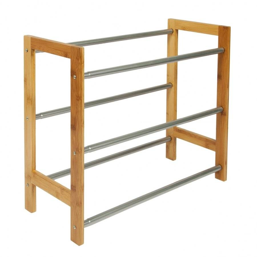 Woodluv 3 Tier Hallway and Entrance Shoe Rack - Fully Extendable