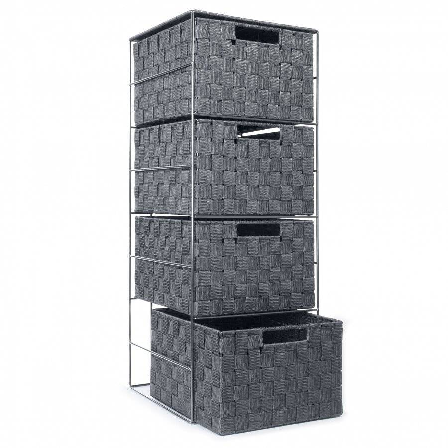 4 drawer Large Polypropylene Woven Storage cabinet unit-Grey