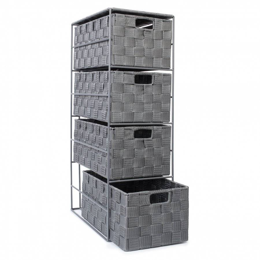 4 Drawer Polypropylene Woven Storage Cabinet Unit, Grey