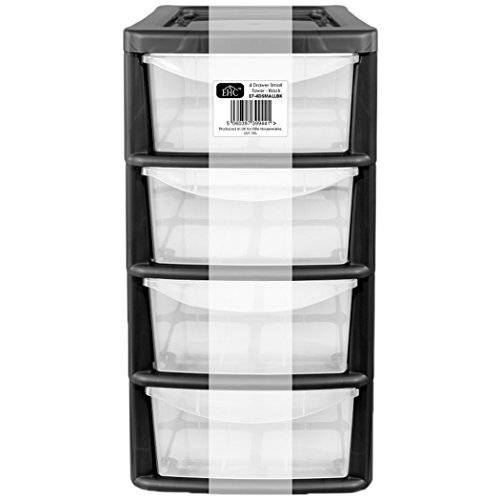 4 Drawer Small Plastic  Desktop Storage Unit - Black