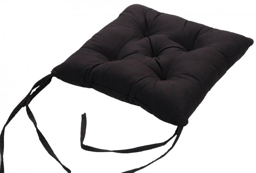 4 X  Quilted Seat Pad/Chair Cushion With Ties, 40 x 40 x 6 cm - Black