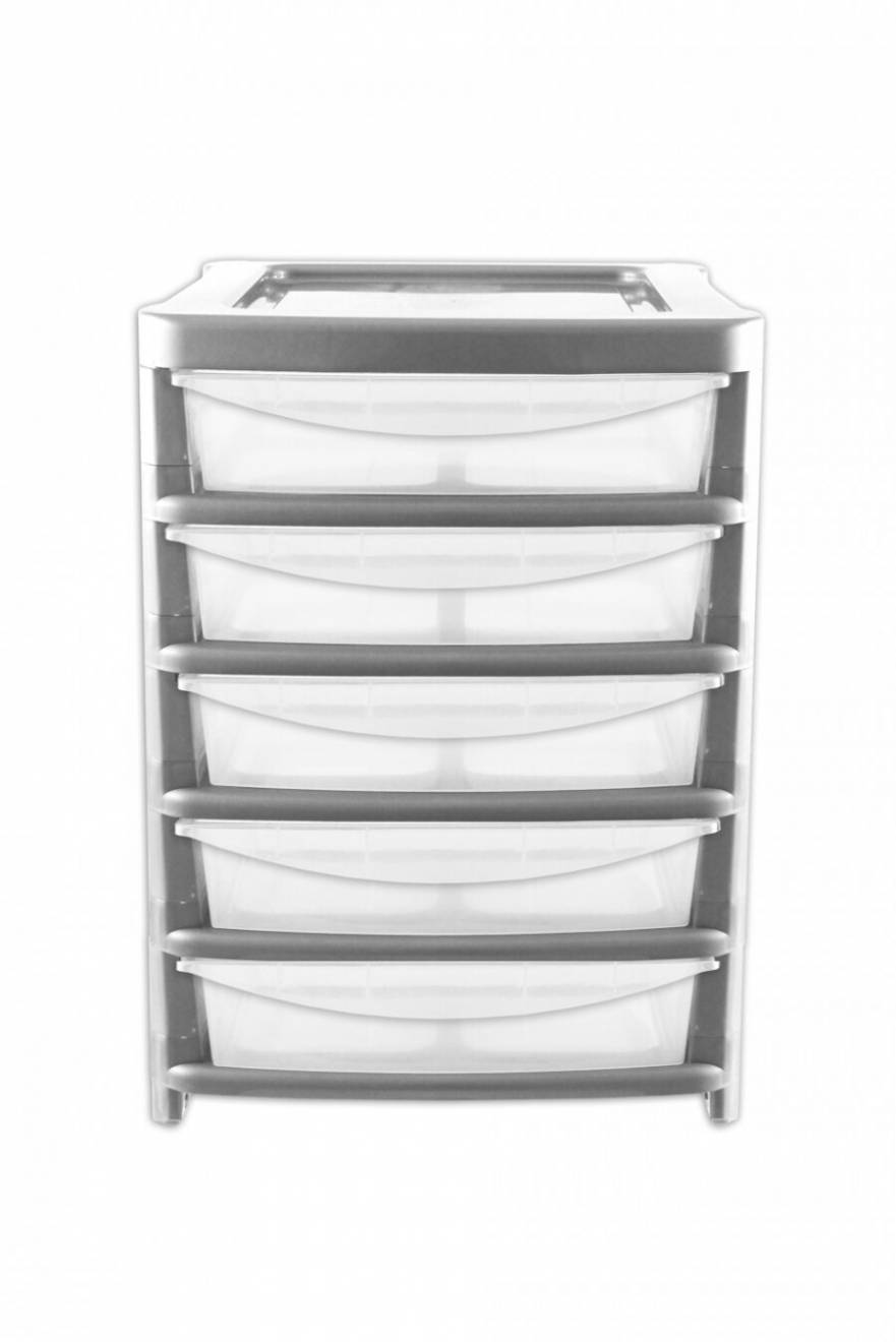 5 Drawer Large Plastic  Shallow Silver Paper Storage Unit - Office,Home