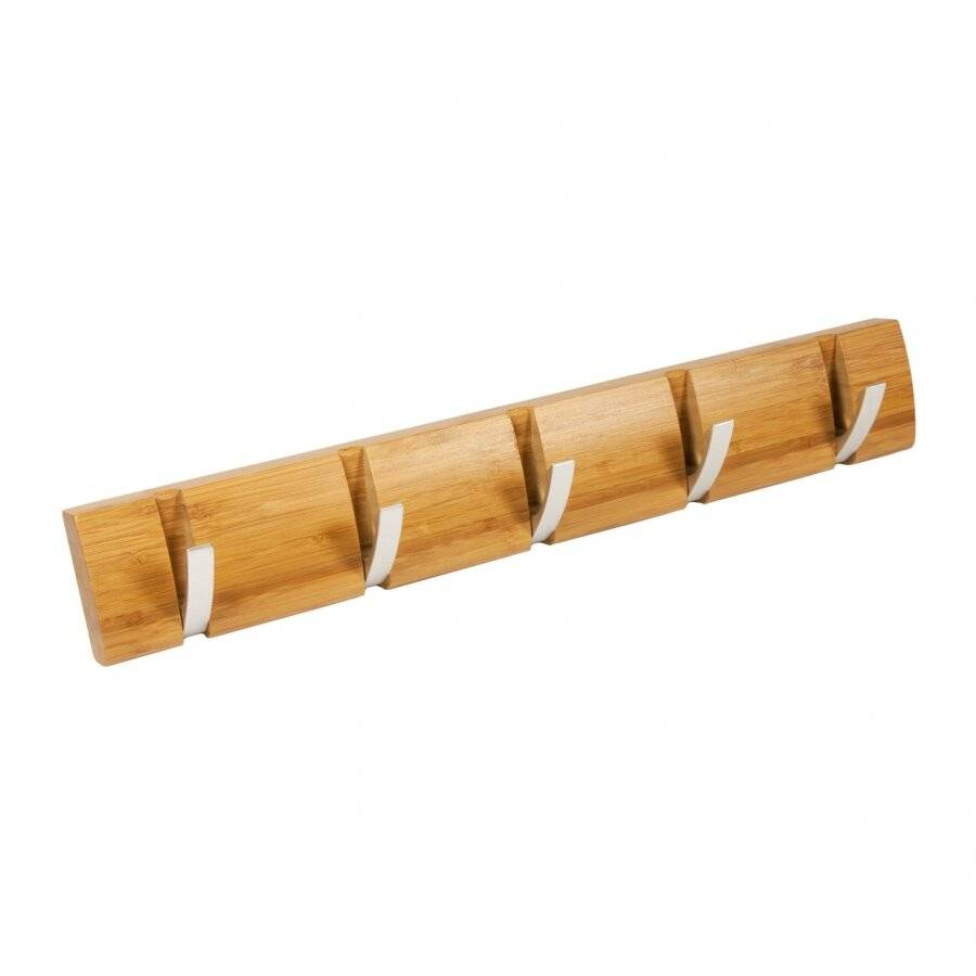 5 Hooks,  Wall-Mounted Wooden Flip Hook Hanger - Natural Honey