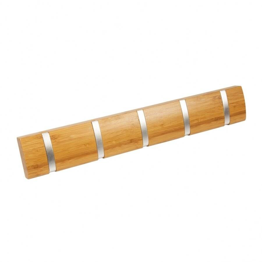 5 Hooks  Wall-Mounted Wooden Flip Hook hanger- Natural Honey