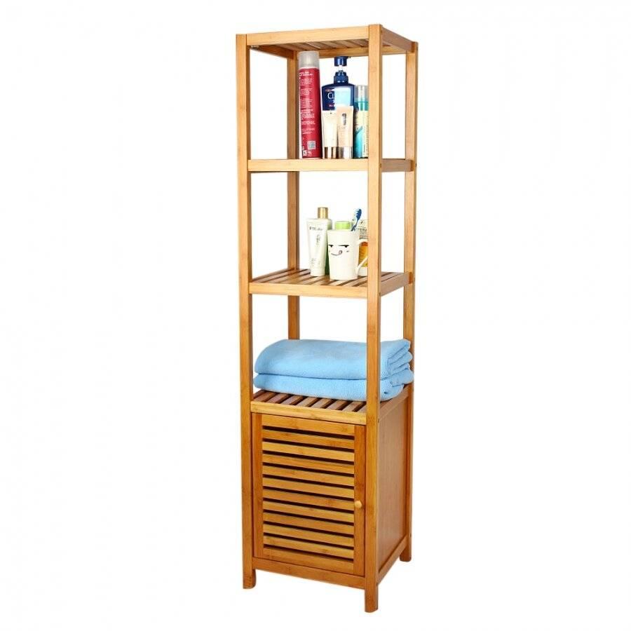 5 Tier Bamboo  Floor Standing Storage Unit For Bathroom