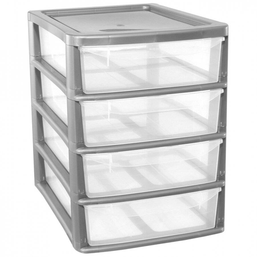 A4 4Drawer Plastic Storage Unit, Silver - Home/Office/Bedroom