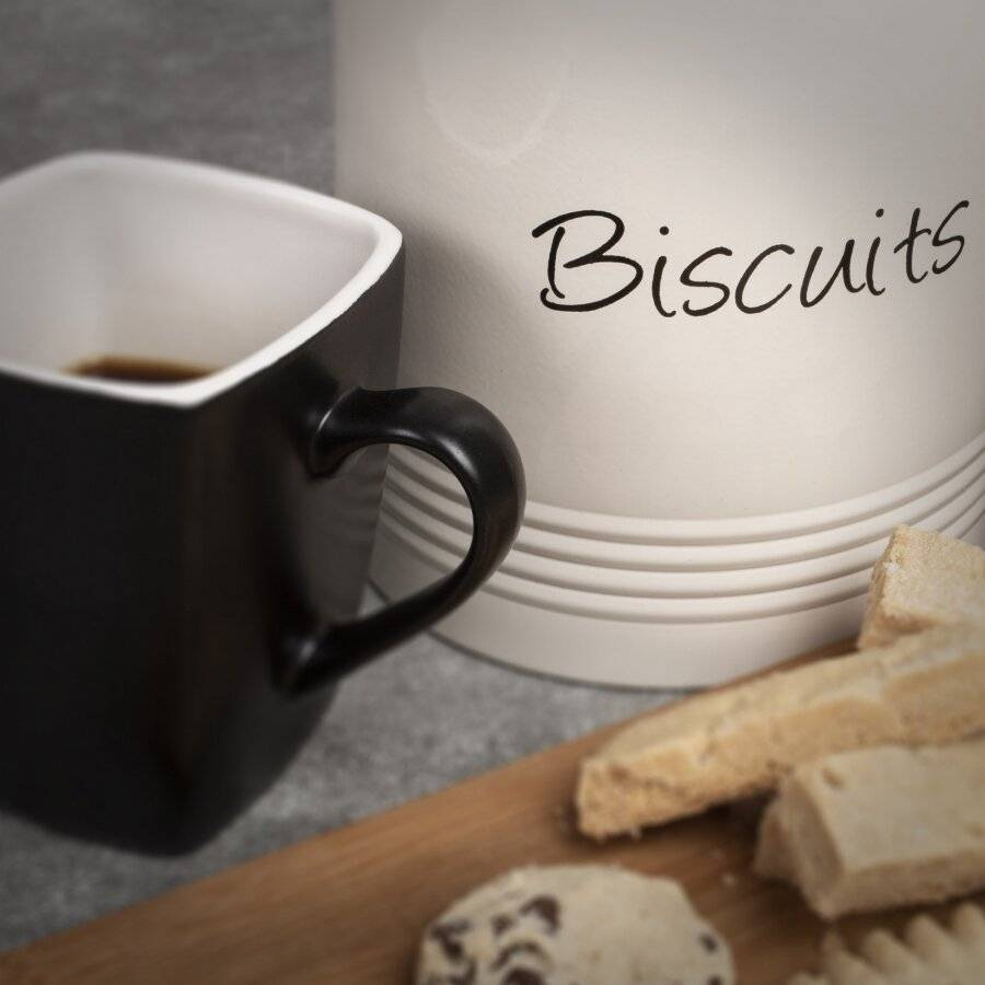 Airtight Biscuit/Cookie Storage Canister With Wooden Lid - Cream