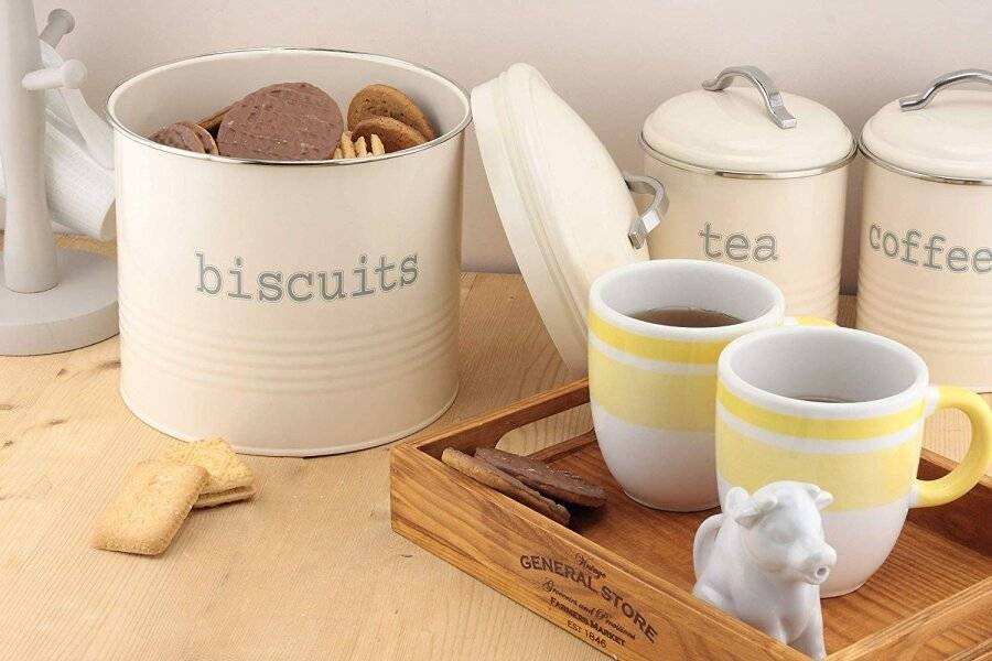 Airtight Round Shaped Biscuit Storage Canister - Cream