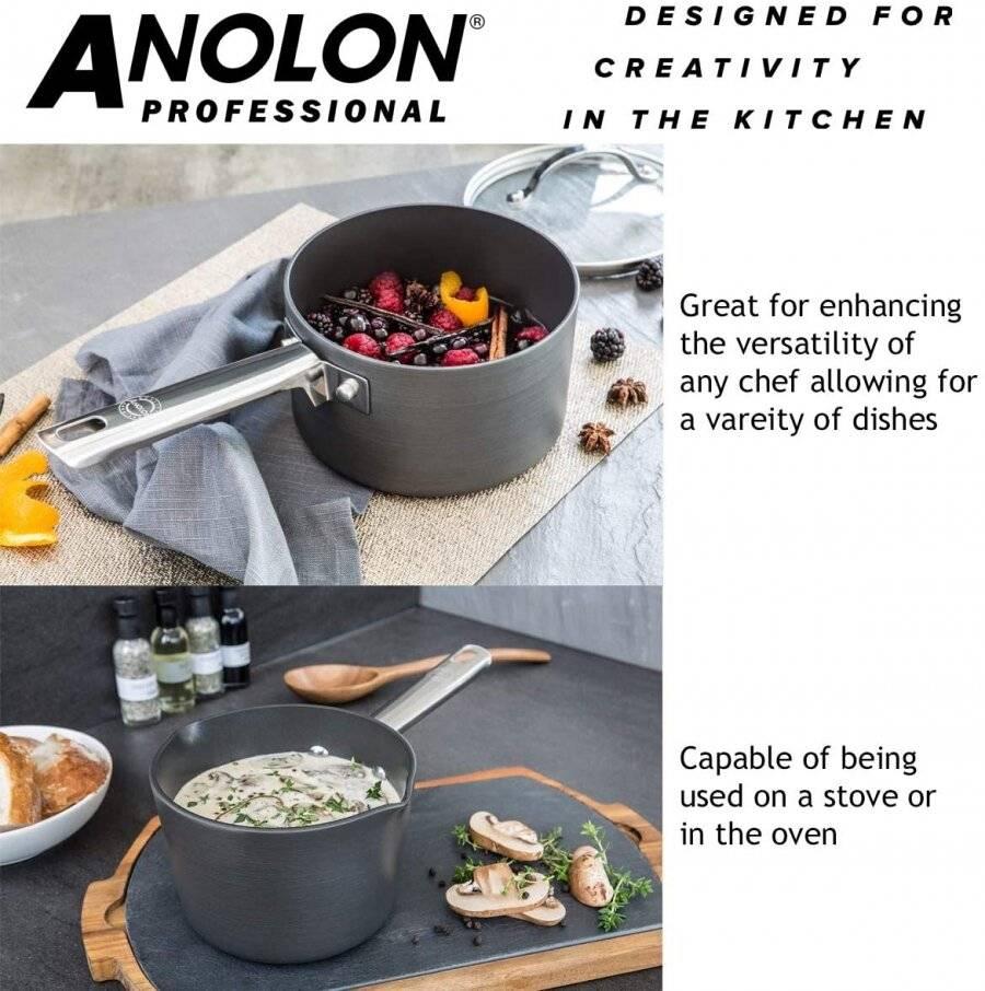 Anolon Professional Milk pan, Saucepans & Frypan Set of 5 - Black