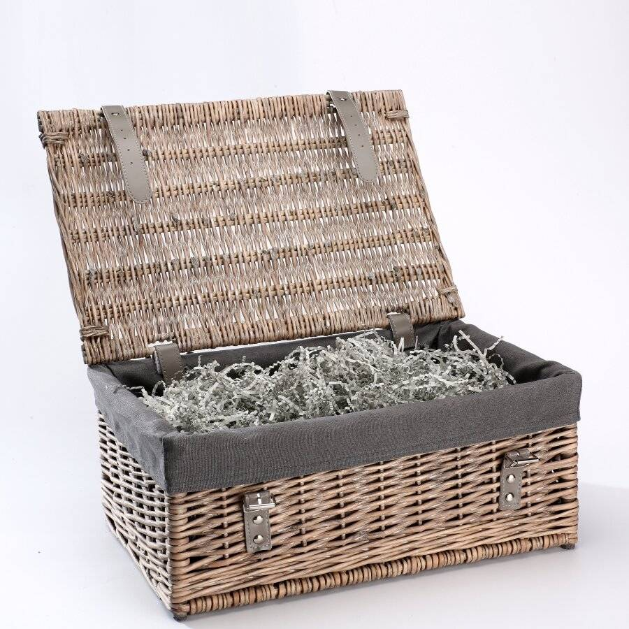 Antique Wash Wicker Gift Hamper Basket With Removable Liner - Grey