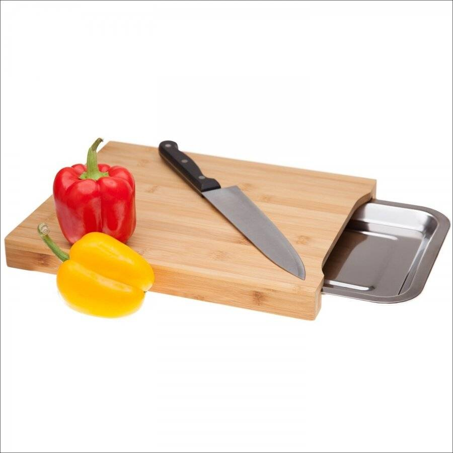Bamboo Chop n Store  Chopping Board With Stainless Steel Storage Tray