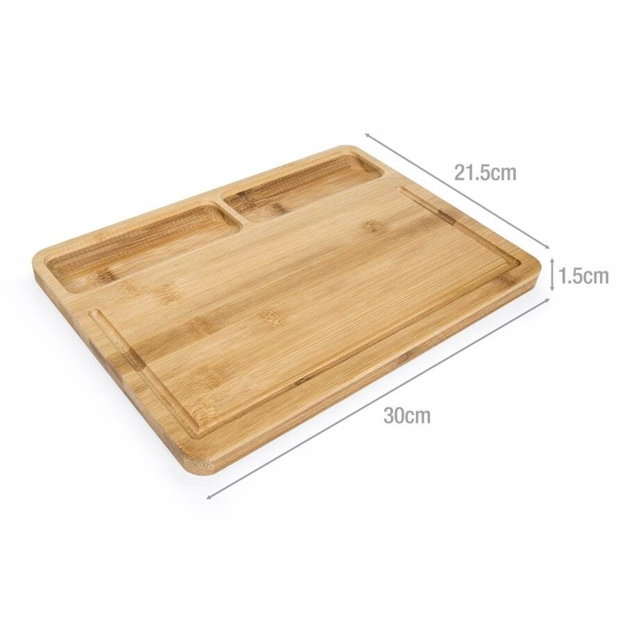 Bamboo Cutting Board with 2 Built in Compartments and Juice Groove