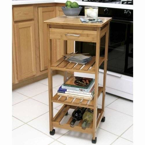 Bamboo Kitchen Storage Cart With Wire Baskets and Drawers
