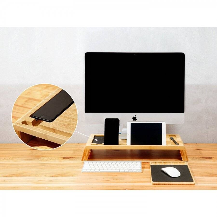 Bamboo Monitor Stand/ Screen Riser For Desks, Computers, Laptops & TVs