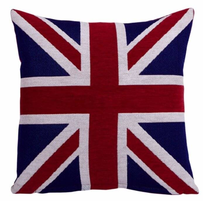 Vintage Style Union Jack Flag Chenille Cushion Cover Pillow Case