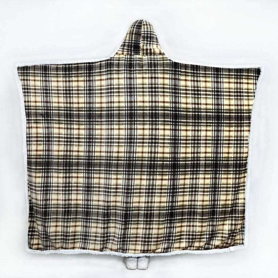 Check Design Super Soft Sherpa Fleece Hooded Blanket -130 x 180 cm