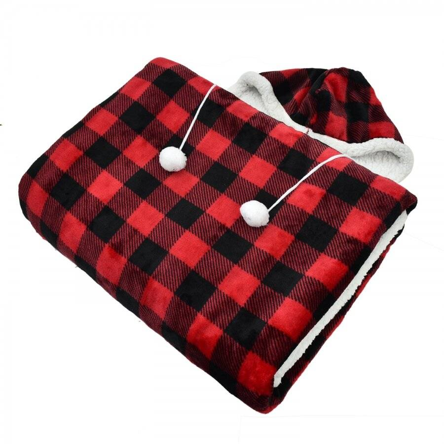 Check Design Super Soft Sherpa Fleece Hooded Blanket - 130 cm x 180 cm