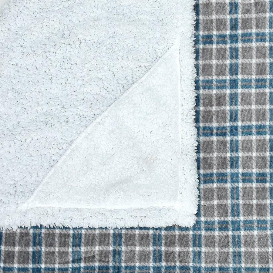 Check Design Super Soft Warm Sherpa Fleece Wearable Hooded Blanket Throw