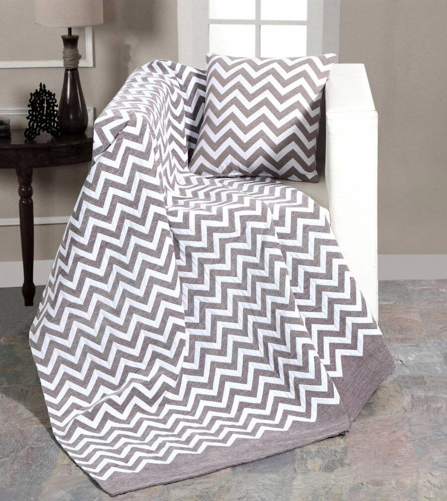 Chenille Chevron Throw For Single Bed, Sofa or Armchair - Grey /White