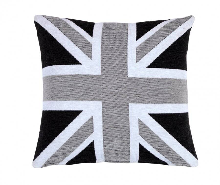Chenille Jacquard Union Jack Cushion Cover - Black/Grey