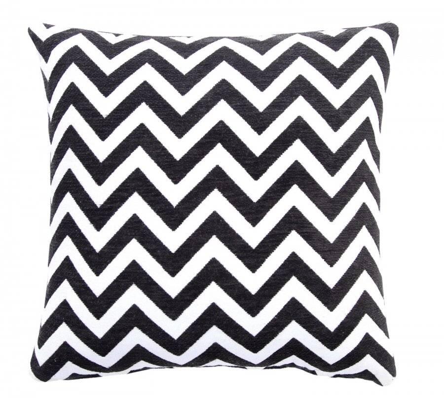 Chevron Sofa Cushion Cover - Black/Natural (45 cm X 45 cm)