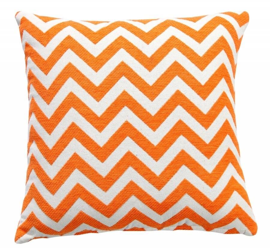Chevron Sofa Cushion Cover - Orange/Natural (45 cm X 45 cm)
