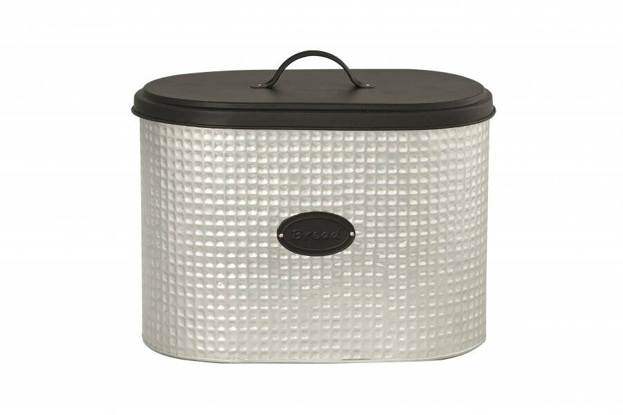 Chic 2 Tone Space Saving Steel Black and Silver Bread Bin